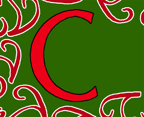 Coloring the C red and applying a black stroke