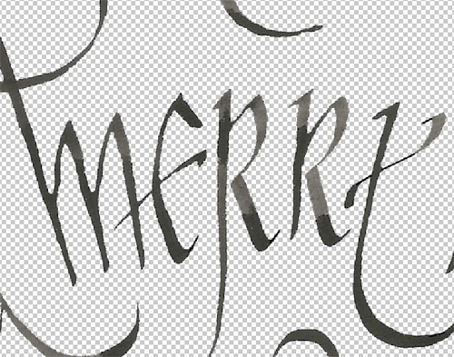Retouching the scanned calligraphy Christmas card in Photoshop