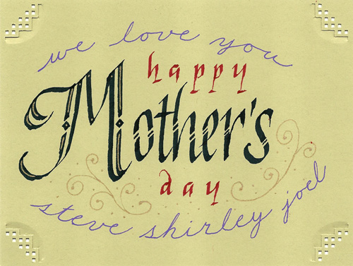 Mother s day card steve husting calligraphy