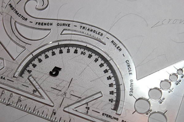 Protractor used to make the starting points for the lettering arcs